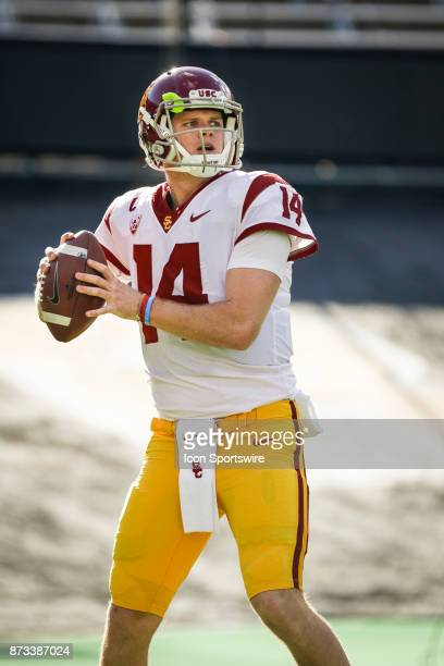 USC quarterback Sam Darnold looks to pass during warmups before the Colorado Buffalos game versus the USC Trojans on November 11 at Folsom Field in...