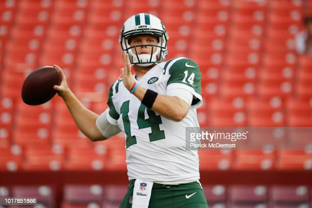 Quarterback Sam Darnold of the New York Jets warms up before a preseason game against the Washington Redskins at FedExField on August 16 2018 in...
