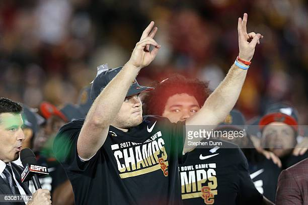 Quarterback Sam Darnold of the USC Trojans celebrates after defeating the Penn State Nittany Lions 52-49 to win the 2017 Rose Bowl Game presented by...