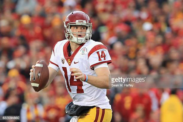 Quarterback Sam Darnold of the USC Trojans looks to pass the ball against the Penn State Nittany Lions during the 2017 Rose Bowl Game presented by...