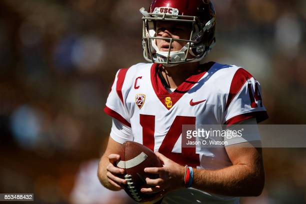 Quarterback Sam Darnold of the USC Trojans of the California Golden Bears warms up before the game against the California Golden Bears at California...