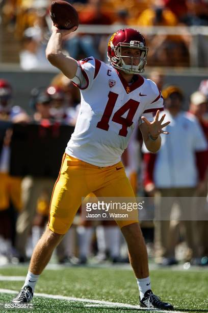 Quarterback Sam Darnold of the USC Trojans passes against the California Golden Bears during the first quarter at California Memorial Stadium on...