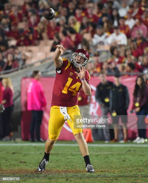 Quarterback Sam Darnold of the USC Trojans passes the ball in the game against the Utah Utes at the Los Angeles Memorial Coliseum on October 14 2017...