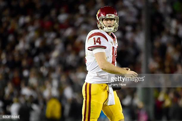 Quarterback Sam Darnold of the USC Trojans reacts after a fumble in the fourth quarter against the Penn State Nittany Lions during the 2017 Rose Bowl...