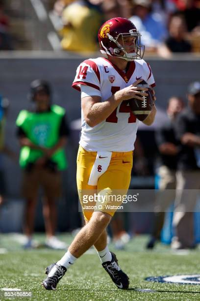 Quarterback Sam Darnold of the USC Trojans stands in the pocket against the California Golden Bears during the first quarter at California Memorial...