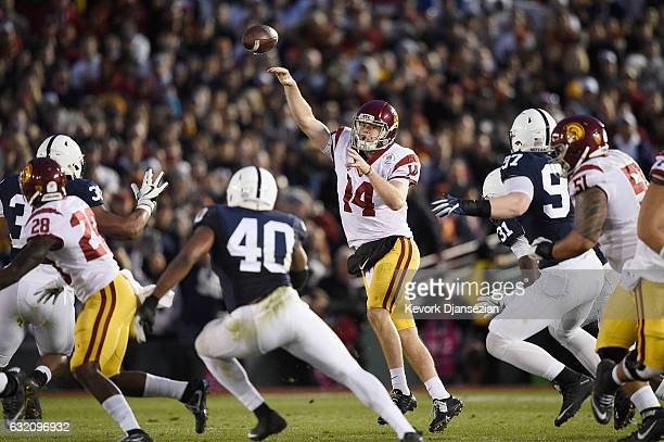 Quarterback Sam Darnold of the USC Trojans throws a pass against the Penn State Nittany Lions during the 2017 Rose Bowl Game presented by...