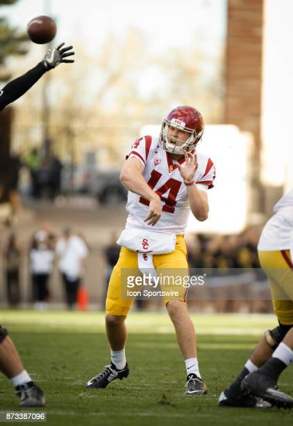 USC quarterback Sam Darnold passes for a touchdown during the Colorado Buffalos game versus the USC Trojans on November 11 at Folsom Field in Boulder...