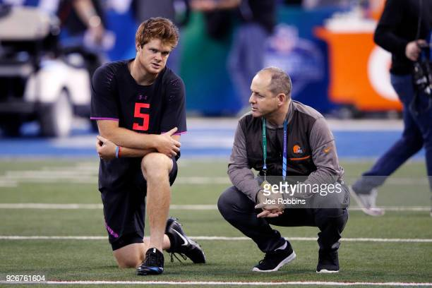 USC quarterback Sam Darnold talks with Ken Zampese of the Cleveland Browns during the NFL Combine at Lucas Oil Stadium on March 3 2018 in...