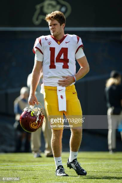 USC quarterback Sam Darnold watches on during warmups before the Colorado Buffalos game versus the USC Trojans on November 11 at Folsom Field in...