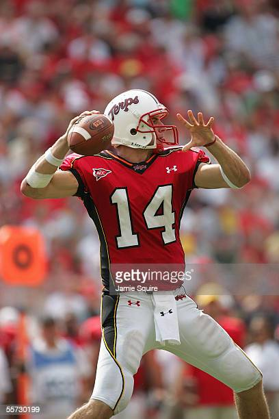 Quarterback Sam Hollenbach of the University of Maryland Terrapins looks to pass during a game against West Virginia University Mountaineers at Byrd...