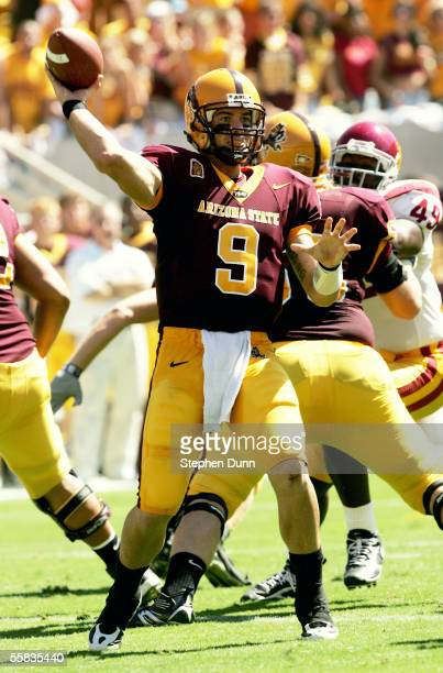 Quarterback Sam Keller of the Arizona State Sun Devils throws a pass against the USC Trojans on October 1 2005 at Sun Devil Stadium in Tempe Arizona