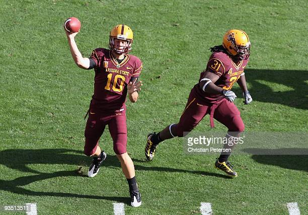 Quarterback Samson Szakacsy of the Arizona State Sun Devils drops back to pass during the college football game against the Arizona Wildcats at Sun...