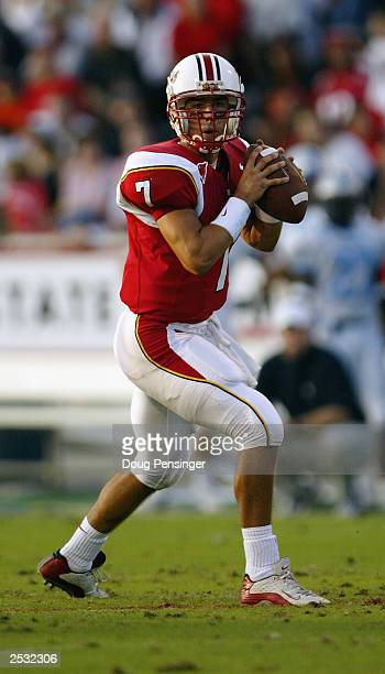 Quarterback Scott McBrien of the University of Maryland Terrapins looks for a receiver against the Citadel Bulldogs during NCAA football game at Byrd...