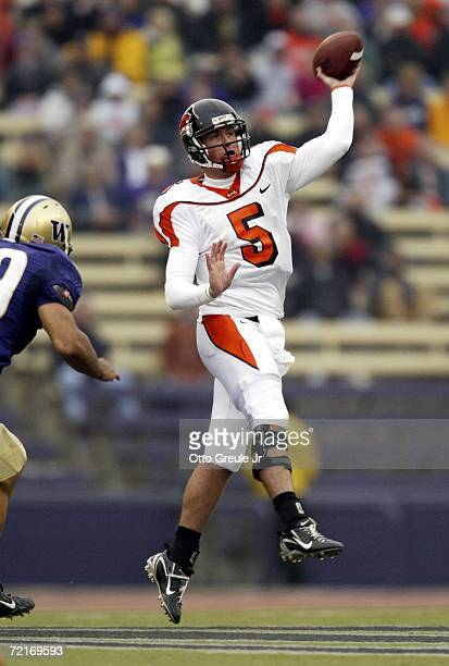 Quarterback Sean Canfield of the Oregon State Beavers passes against Chris Stevens of the Washington Huskies on October 14 2006 at Husky Stadium in...