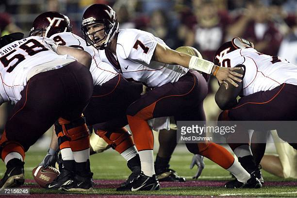 Quarterback Sean Glennon of the Virginia Tech Hokies calls an audible at the line against the Boston College Eagles at Alumni Stadium on October 12...