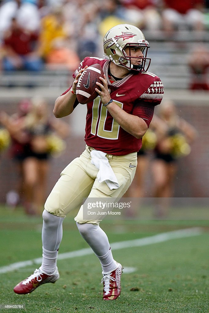 Quarterback Sean Maguire #10 of the Florida State Seminoles on a pass play during the spring game at Doak Campbell Stadium on Bobby Bowden Field on April 11, 2015 in Tallahassee, Florida.