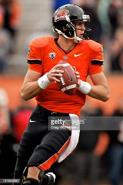Quarterback Sean Mannion of the Oregon State Beavers looks to pass against the Stanford Cardinal on November 5, 2011 at Reser Stadium in Corvallis,...