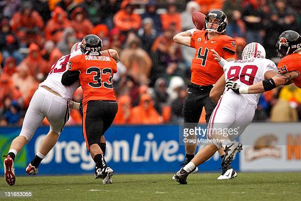 Quarterback Sean Mannion of the Oregon State Beavers passes against the Stanford Cardinal on November 5, 2011 at Reser Stadium in Corvallis, Oregon....