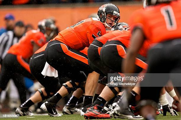 Quarterback Sean Mannion of the Oregon State Beavers prepares to snap the ball against the Stanford Cardinal on November 5, 2011 at Reser Stadium in...
