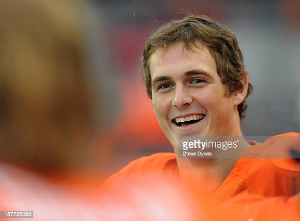 Quarterback Sean Mannion of the Oregon State Beavers smiles along the sidelines late in the fourth quarter of the game against the Nicholls State...
