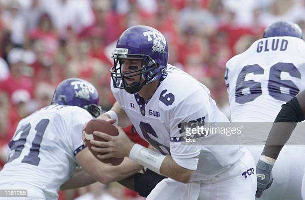 Quarterback Sean Stilley of the Texas Christian University Horned Frogs drops back with the ball during the NCAA football game against the Nebraska...