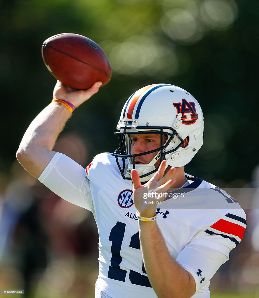 Quarterback Sean White #13 of the Auburn Tigers warms up before an NCAA college football game against the Mississippi State Bulldogs on October 8, 2016 in Starkville, Mississippi.
