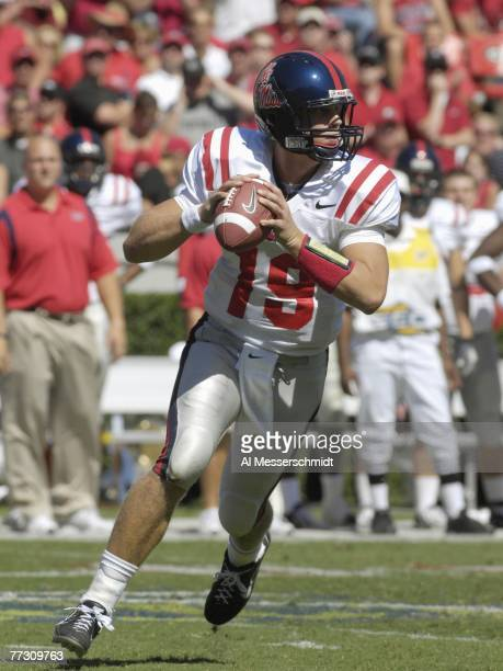 Quarterback Seth Adams of the Mississippi Rebels looks to pass against the Georgia Bulldogs at Sanford Stadium on September 29 2007 in Athens Georgia