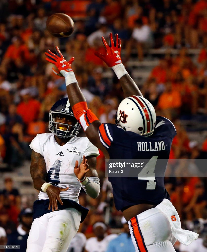 Quarterback Shai Werts #4 of the Georgia Southern Eagles throws the ball as linebacker Jeff Holland #4 of the Auburn Tigers defends during the second half of an NCAA college football game at Jordan Hare Stadium on Saturday, September 2, 2017 in Auburn, Alabama.