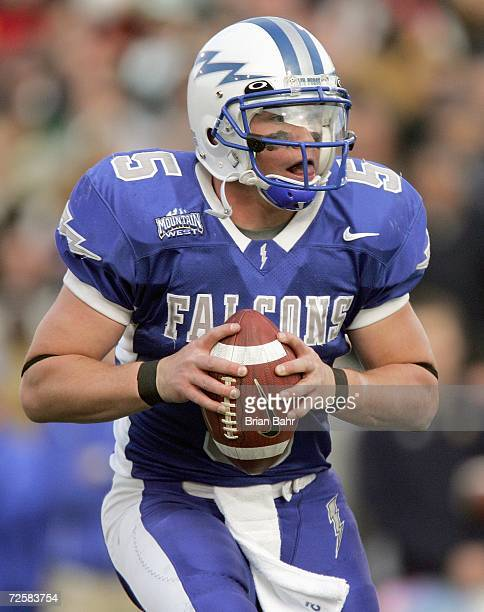 Quarterback Shaun Carney of the Air Force Falcons looks to pass the ball during the game against the Notre Dame Fighting Irish on November 11 2006 at...