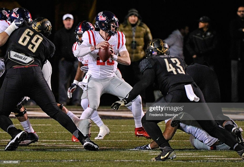 Quarterback Shea Patterson #20 of the Ole Miss Rebels drops back to pass against the Vanderbilt Commodores during the first half at Vanderbilt Stadium on November 19, 2016 in Nashville, Tennessee.