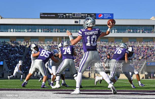 Quarterback Skylar Thompson of the Kansas State Wildcats throws a pass during the second half against the TCU Horned Frogs at Bill Snyder Family...