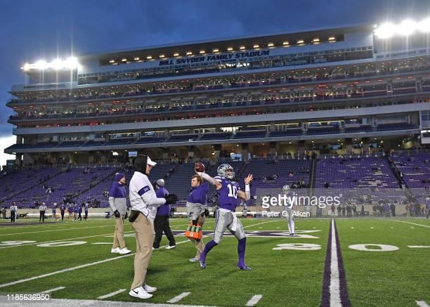 Quarterback Skylar Thompson of the Kansas State Wildcats throws a pass during pre-game workouts at Bill Snyder Family Football Stadium prior to a...