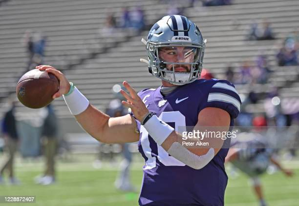 Quarterback Skylar Thompson of the Kansas State Wildcats warms up, prior to a game against the Texas Tech Red Raiders at Bill Snyder Family Football...