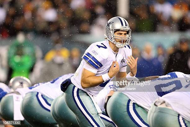 Quarterback Stephen McGee of the Dallas Cowboys calls out signals during a game against the Philadelphia Eagles at Lincoln Financial Field on January...