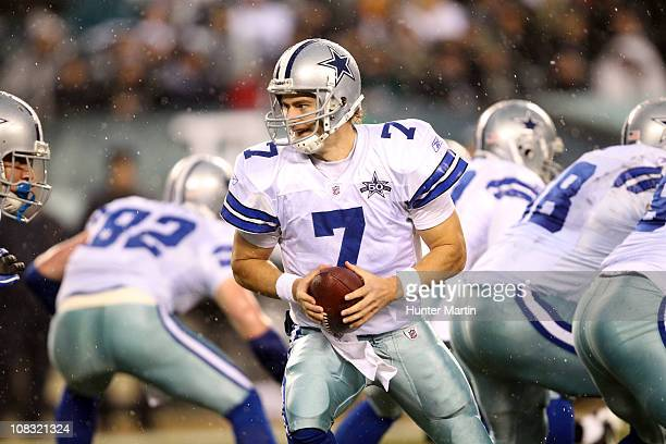 Quarterback Stephen McGee of the Dallas Cowboys hands off during a game against the Philadelphia Eagles at Lincoln Financial Field on January 2 2011...