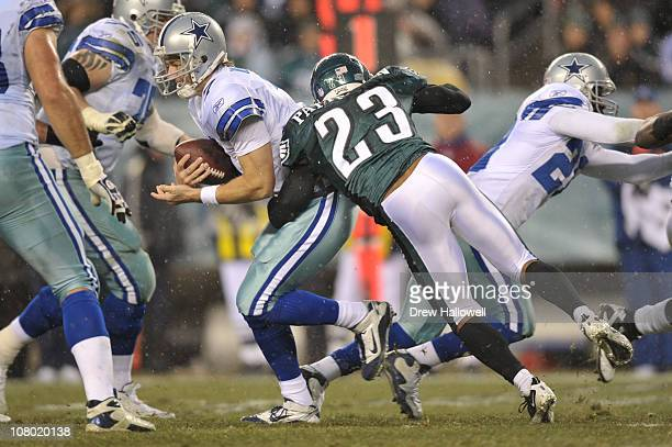 Quarterback Stephen McGee of the Dallas Cowboys is sacked by cornerback Dimitri Patterson of the Philadelphia Eagles at Lincoln Financial Field on...