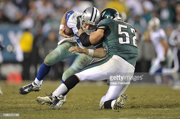 Quarterback Stephen McGee of the Dallas Cowboys is sacked by defensive end Daniel Te'oNesheim of the Philadelphia Eagles at Lincoln Financial Field...