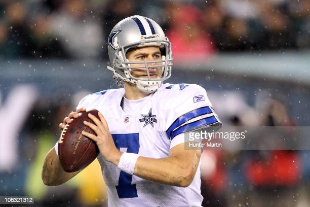 Quarterback Stephen McGee of the Dallas Cowboys throws a pass during a game against the Philadelphia Eagles at Lincoln Financial Field on January 2...