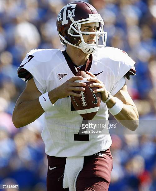 Quarterback Stephen McGee of the Texas AM Aggies drops back to pass during the game against the Kansas Jayhawks on October 7 2006 at Memorial Stadium...