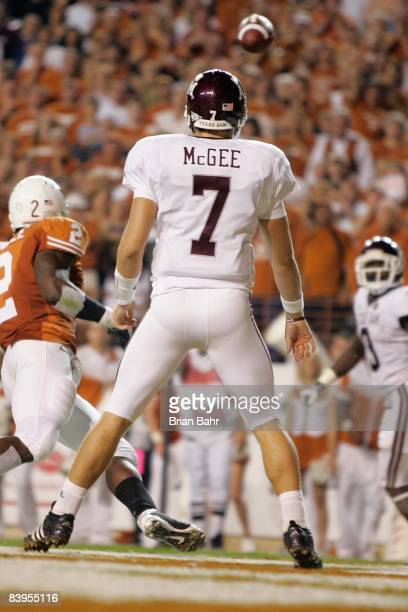 Quarterback Stephen McGee of the Texas AM Aggies follows the ball downfield against the Texas Longhorns on November 27 2008 at Darrell K RoyalTexas...