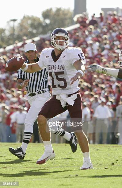 Quarterback Stephen McGee of the Texas AM Aggies moves to pass during the game against the Oklahoma Sooners on November 12 2005 at Memorial Stadium...
