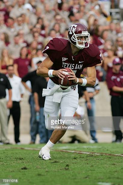 Quarterback Stephen McGee of the Texas AM Aggies runs with the ball against the Missouri Tigers at Kyle Field on October 14 2006 in College Station...