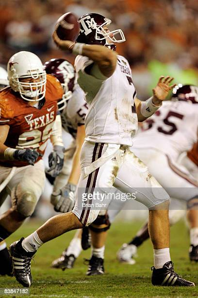 Quarterback Stephen McGee of the Texas AM Aggies throws against the Texas Longhorns at Darrell K RoyalTexas Memorial Stadium November 27 2008 in...