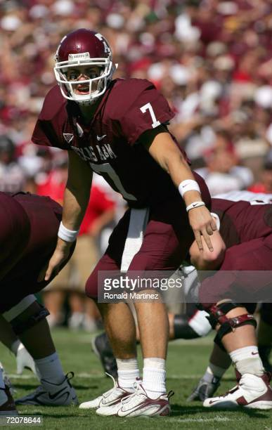 Quarterback Stephen McGee of the Texas A&M Aggies yells on the line of scrimmage during the game against the Texas Tech Red Raiders at Kyle Field on...