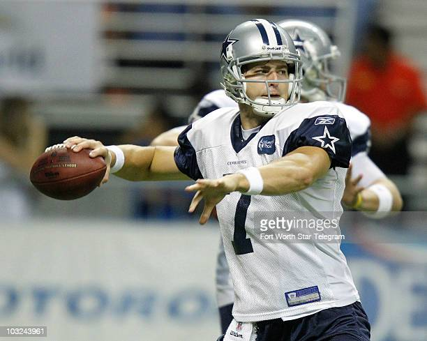 Quarterback Stephen McGee throws as the Dallas Cowboys continue their training camp at the Alamodome in San Antonio Texas on Wednesday August 4 2010