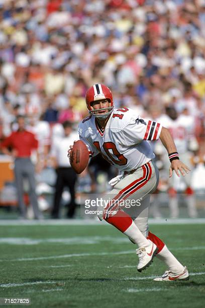 Quarterback Steve Bartkowski of the Atlanta Falcons runs with the ball during a game against the Los Angeles Rams at Anaheim Stadium on October 16...