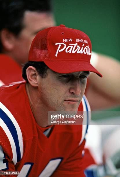 Quarterback Steve Grogan of the New England Patriots looks on from the sideline during a game against the Cleveland Browns at Cleveland Municipal...