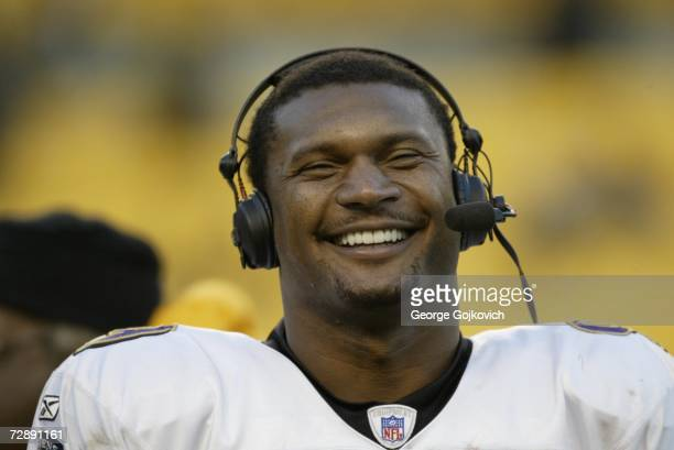 Quarterback Steve McNair of the Baltimore Ravens smiles during a postgame interview on the field following a game against the Pittsburgh Steelers at...