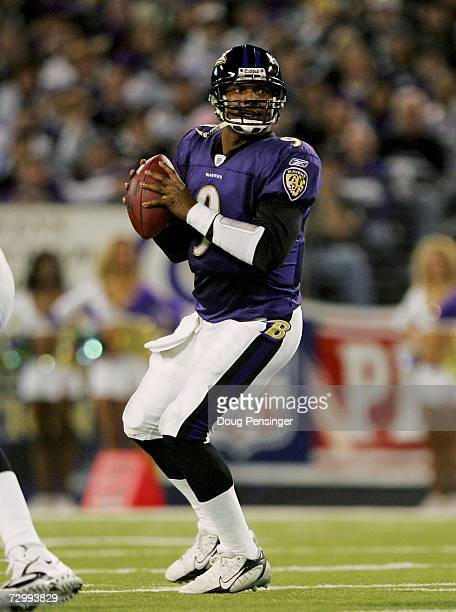 Quarterback Steve McNair of the Baltimore Raves drops back to pass against the Indianapolis Colts during their AFC Divisional Playoff game on January...