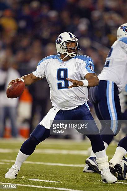 Quarterback Steve Steve McNair of the Tennessee Titans sets to throw during the AFC Wildcard playoff game against the Baltimore Ravens at M T Bank...